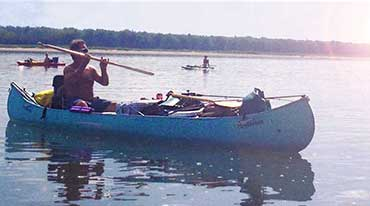Canoes packed for camping on a Missouri river trip.